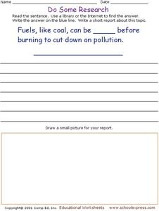 Do Some Research - Carbon Fuels and Pollution Worksheet