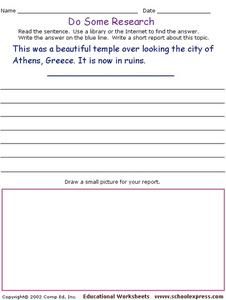 Do Some Research - The Acropolis, Athens, Greece Worksheet