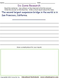 Do Some Research - Suspension Bridges - Golden Gate Bridge Worksheet