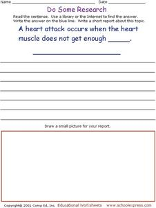 Do Some Research - Heart Attacks Worksheet