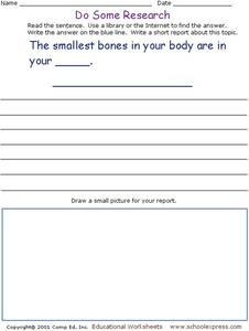 Do Some Research: Bones in the Body Worksheet
