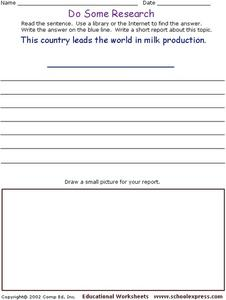 Do Some Research: Milk Production Worksheet