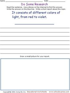 Do Some Research: Light Spectrum Worksheet