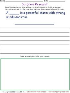 Do Some Research - Hurricanes Worksheet