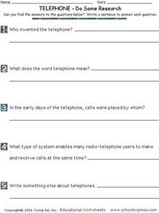 Do Some Research - The Telephone Worksheet