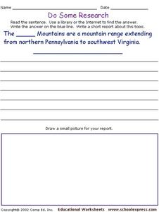 Do Some Research: Allegheny Mountains Worksheet