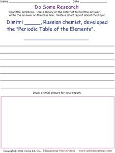 "Do Some Research: developed ""Periodic Table of the Elements"" Worksheet"