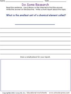 Do Some Research- Chemical Elements Worksheet
