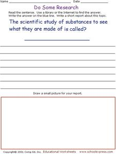 Do Some Research - Study of Substances Worksheet
