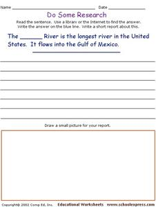 Do Some Research - Longest River in the United States Worksheet