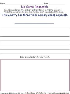 Do Some Research - More Sheep than People Worksheet