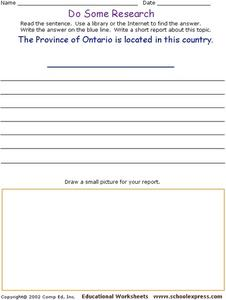 Do Some Research: Canada Worksheet
