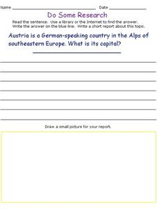 Do Some Research - Vienna, Austria Worksheet