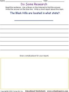 Do Some Research: The Black Hills  Worksheet