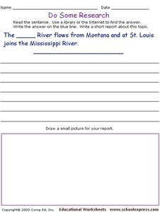 Do Some Research: Rivers Worksheet