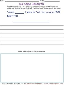Do Some Research: Redwood Trees  Worksheet