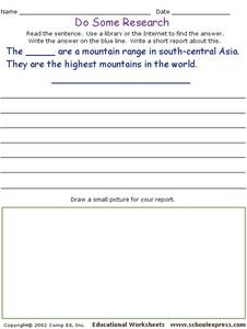 Do Some Research - Highest Mountains in the World Worksheet