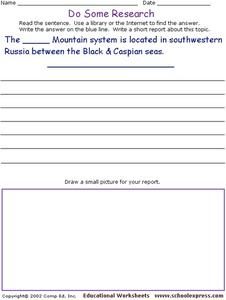 Do Some Research - Caucasus Mountains Worksheet