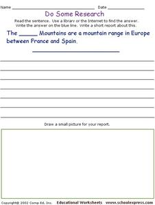 Do Some Research - Pyrenees Mountains Worksheet