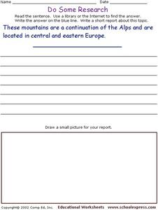 Do Some Research - Carpathian Mountains Worksheet