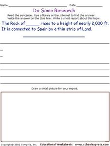 Do Some Research - Rock of Gibraltar Worksheet