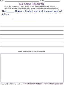Do Some Research - Indian Ocean Worksheet