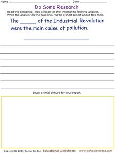 Do Some Research - Pollution During the Industrial Revolution Worksheet
