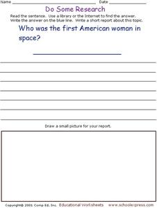 Do Some Research - First Woman in Space Worksheet