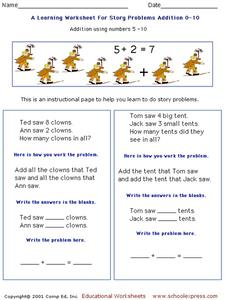 A Learning Worksheet for Story Problems Addition 0-10 Worksheet