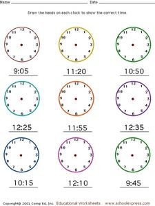Telling Time: Draw Hands on Clocks Worksheet for 1st - 2nd ...