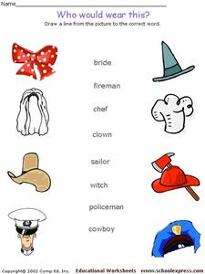 Who Would Where Is? Hats and Occupations Worksheet