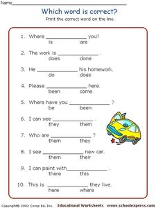 Which Word is Correct? #2 Worksheet
