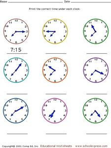 Telling Time to Five Minute Intervals Worksheet
