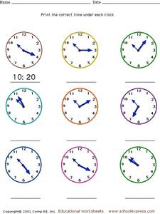Telling Time - Analog Clock Faces, Five Minute Intervals Worksheet