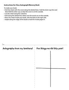 Autograph and Memory Book Worksheet