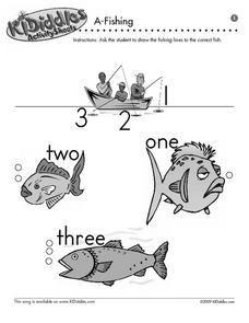 A-Fishing - Matching Numbers to Number Words Worksheet