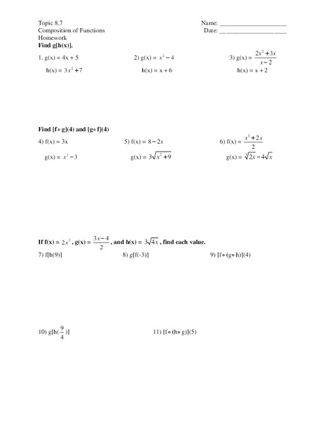 Functions Worksheet For 11th Grade