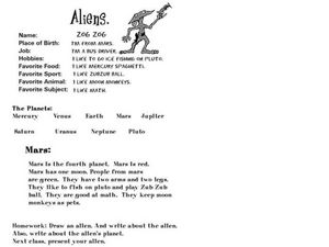 Aliens- Science Fiction Writing Assignment Worksheet