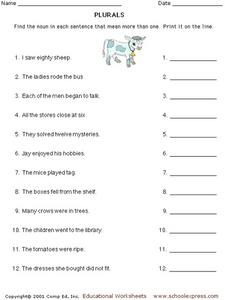Plurals Identifying Plural Nouns Worksheet For Kindergarten 3rd Grade Lesson Planet
