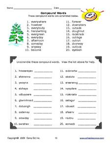 Two Words = Compound Word Worksheet