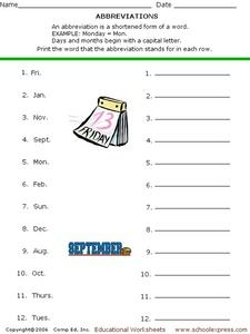 Abbreviate Days and Months Worksheet