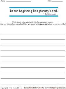 Famous Quote by Kefi Awooner Worksheet