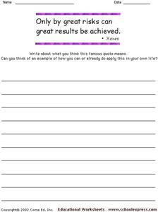 Famous Quotes: Xexes Worksheet for 3rd - 6th Grade   Lesson ...