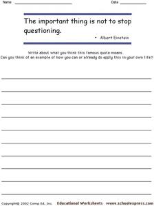 """The important thing is not to stop questioning."" Worksheet"