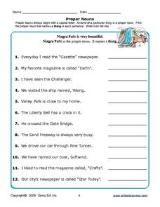 Proper Nouns: Things Worksheet