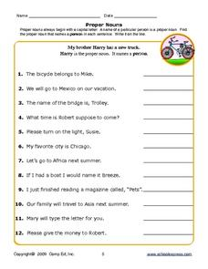 Proper Nouns: Person, Place, or Thing Worksheet