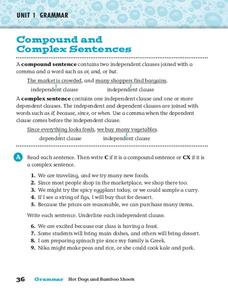 Compound and Complex Sentences Worksheet
