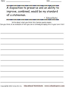 Famous Quotes 181 Worksheet