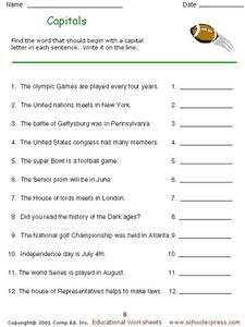 Capitals: Proper Nouns Worksheet