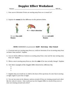 Doppler Effect Worksheet Worksheet